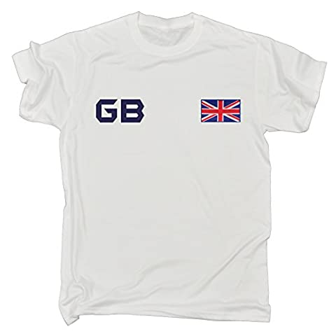 Great Britain Supporter Games Team British Sports Fan Tee GB Flag Jersey Top Navy Logo (S - WHITE)
