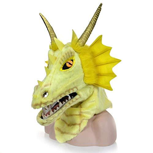 LZY Masken Lustige Erwachsene Halloween Kostüme Pelzigen Handgemachte Angepasste Halloween Beweglichen Mund Maske Orange Dragon Simulation Tier Maske Cosplay,Gelb (Handgemachte Kostüm Für Erwachsene)