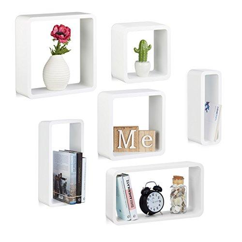 Relaxdays set 6 mensole da muro laccate, cubi da parete in varie misure, legno mdf, porta cd, dvd, per soggiorno, cameretta, bianco