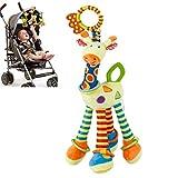 Lamaze Newborn Toy Felpa Jirafa Animal Sonajeros para bebés - Clip On Pram / Buggy / Cochecito Infantil - Colgante de juguete interactivo de desarrollo multifuncional para nacimiento / 0-12 meses Bebé
