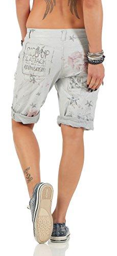 ZARMEXX Mesdames pantalons capri pantalon baggy Petit ami Imprimer jeggings fantaisie Capri Jogger gris clair