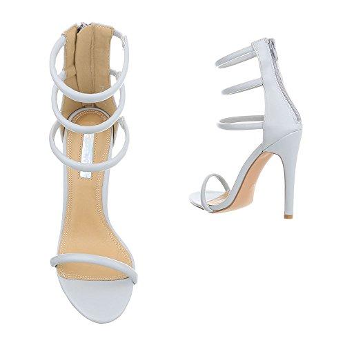 Ital-Design Chaussures Femme Sandales Aiguille Sandales Escarpins High Heel lumière bleue
