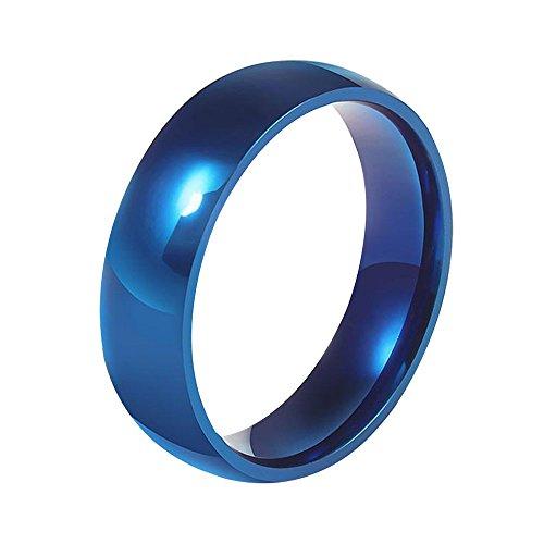 Kangqifen Schmuck Herren Ring Titanstahl Anti-Allergie Glatter Ringe Breit 6,0 mm Gold/Blau/Stahlfarbe(62.4,Blau) (Jade Verlobungsringe)
