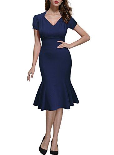 Miusol Damen Sommerkleid V-Ausschnitt Kurzarm 1950er Retro FishtailBuero Cocktail Kleid Blau EU 36/38/S