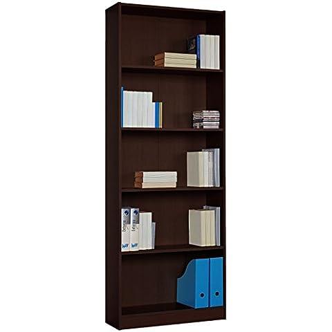 Estantería Atlas 74x200 alta, para oficinas, despachos o salas, con 5 espacios, wengué