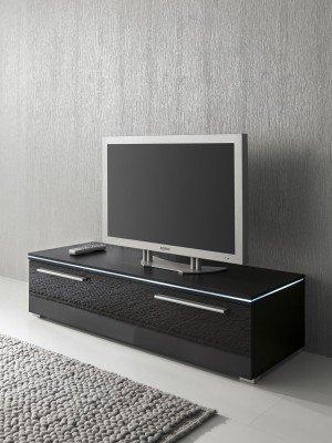 Lowboard TV-Schrank 120 cm schwarz Fronten hochglanz, optional LED-Beleuchtung, Beleuchtung:ohne Beleuchtung (Fach-tv-kommode 6)