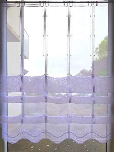 Albani Cliprollo Scheibengardine Welle Höhe 145cm ungerafft weiß Voile   Breite der Gardine frei wählbar in 16cm Schritten   Clipraffstore Clippanneau