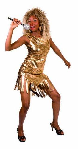 Turner Kostüm Tina - Kleid Königin des Rock - Gold - Größe XS - Einheitsgröße Erwachsene