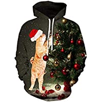 FOOBRTOPOO Novedad Navidad Árbol de Navidad Gato Jerseys Otoño Invierno Cordón Sudadera con Capucha de impresión Tops Use Desgaste Outwear Sweater Sweatshirt -XXL/XXXL