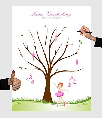 Herzl-Manufaktur Schulanfang Fingerabdruckbaum Ballerina rosa Leinwand personalisiert 30x40cm Zuckertütenbaum Gästebuch Schuleinführung