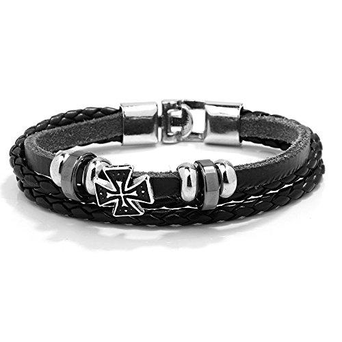 O.R.Bracelet® by Old Rubin   Pulsera con cruz y cuentas de metal (piel, acero inoxidable), diseño trenzado, color negro