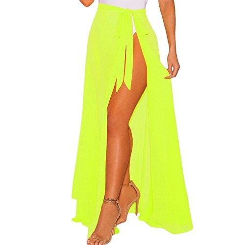 Letsshopping Damen Sexy Sommer Strandkleid Elastische Lang Strandrock Bikinihosen Cover Up Wickelrock Bikini Boho Maxi Skirt Schwarz Weiß Für Damen Frauen Mädchen Teens (Fluoreszenz gelb)