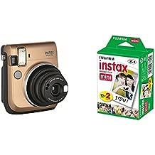 Fujifilm Instax Mini 70 - Cámara analógica instantánea (ISO 800, 0.37x, 60 mm, 1:12.7, flash automático, modo autorretrato, exposición automática, temporizador, modo macro), dorado polvo de estrellas + 2 paquetes de películas fotográficas instantáneas (10 hojas)