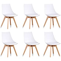 Designetsamaison Lot de 6 chaises scandinaves Blanches - Prague