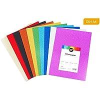perfect ideaz 30 fogli DIN-A4 di cartoncino glitter colorato, foglio glitter per fare lavori manuali, 10 diversi colori, 160 g / m ², cartone da disegno, occorrente per il fai da te