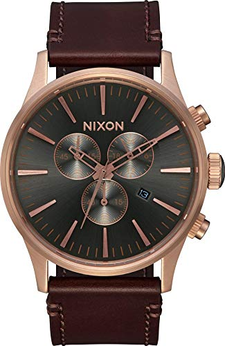 Nixon Unisex Erwachsene Chronograph Quarz Uhr mit Leder Armband A405-2001-00