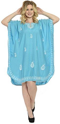 La Leela Damen 5 in 1 leichte Viskose Tunika Abend lässig Vintage-Kleid Bikini Kimono Badebekleidung verschleiern Lounge Bademode plus kurze gemütliche Nacht Entbindungs ??Kaftan gestickt Blau