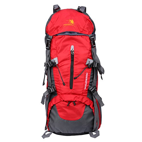 Freeknight 60L Travel Backpack Large Hiking Camping Ruck Sack Water Resistang Luggage Bag for Outdoor Travel Climbing Camping Mountaineering Red