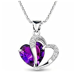 Sheclub® Rhodium Plated Crystal Diamond Accent Purple Amethyst Heart Shape Pendant Necklace