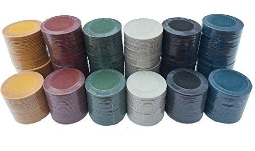 150x Poker Roulette Casino Chips/Spielsteine–6Farben (Blank Apparel)