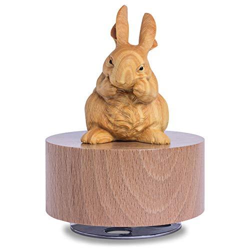 e Hand Bunny Spieluhr Kreative Holz Handwerk Souvenir Antike Geschnitzte Hand-Holz Kleine Kaninchen Spieluhr Geburtstag ()