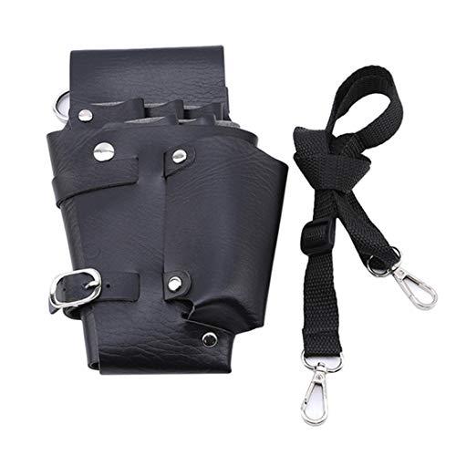 Kissherely Poche de coiffure en cuir PU ciseaux titulaire taille sac coiffeur cas de rangement pour outils avec ceinture