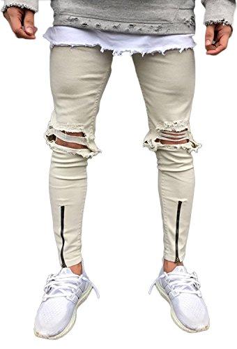 Minetom uomo jeans pantaloni cuciture fit distrutto pantaloni denim alla moda con cerniera skinny pants jeans strappati cachi eu xxl