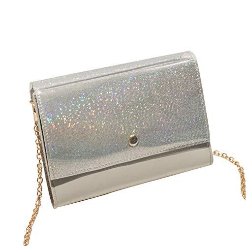 hen Taschen Damen Schultertasche PU Handtasche klein Damenhandtasche Metallgriff Henkeltasche Abendhandtasche 18 * 4 * 14CM ()