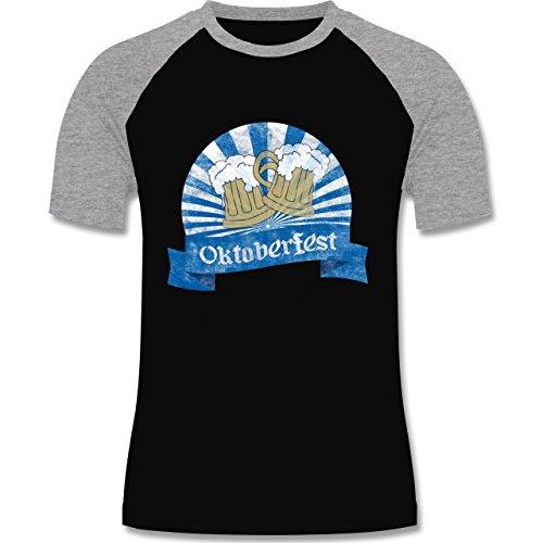 Oktoberfest Herren - Bierkrüge Vintage - zweifarbiges Baseballshirt für Männer Schwarz/Grau Meliert