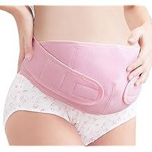 FEOYA - Faja Premamá Embarazadas Banda de Maternidad del Vientre Firme Apoyo Prenatal Postparto Cinturón de Embarazo - Color de piel Rosa - L XL