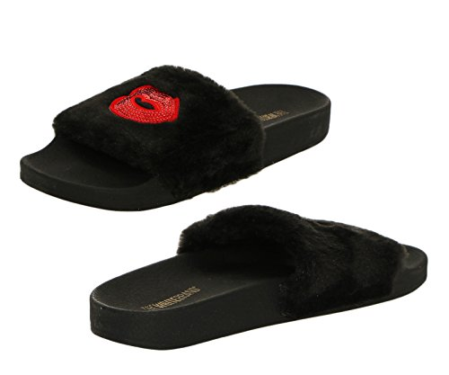The White Brand  The White Brand, Chaussons Mules femme FUR BLACK
