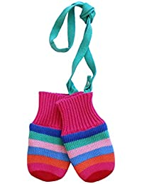 Toby Tiger 100% Cotton outer with soft fleece lined multi girl stripe knitted mittens. - Mouffles - Fille