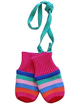 Toby Tiger - 100% Cotton Outer With Soft Fleece Lined Multi Girl Stripe Knitted Mittens., Guanti Bambina