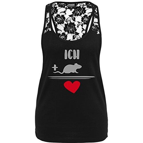 Statement Shirts - Ratten-Liebe - weit ausgeschnittenes Damen Tanktop mit Spitze Schwarz