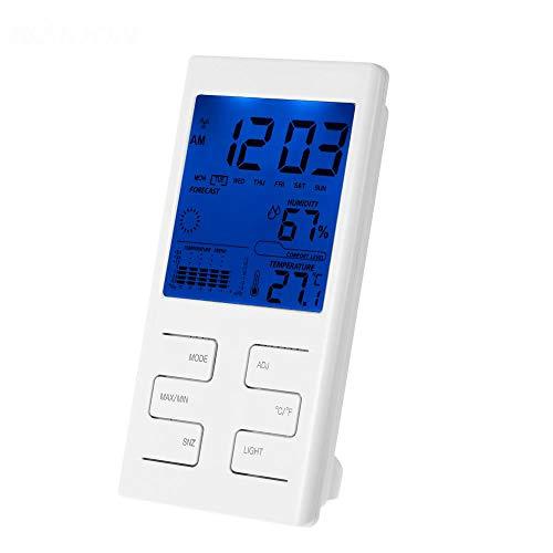QIANYAC Indoor LCD Digitaler Temperatur-feuchtigkeitsmesser Uhr Thermometer Hygrometer Temperatur Trend Komfort Level Alarm Stündlich