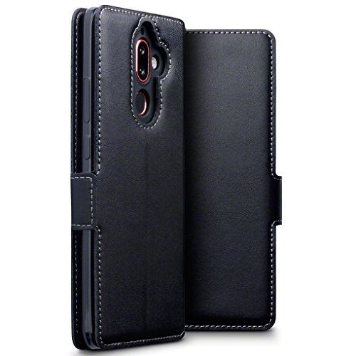 TERRAPIN, Kompatibel mit Nokia 7 Plus Hülle, ECHT Leder Börsen Tasche - Ultra Slim Fit - Betrachtungsstand - Kartenschlitze - Schwarz