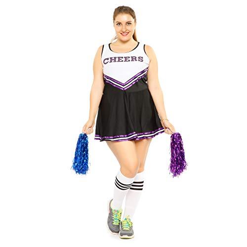 Anladia Mädchen Cheerleader Kostüm Dame Halloween Kostüm Kleid Cheerleading Bekleidung mit 2 Pompoms Schwarz Lila