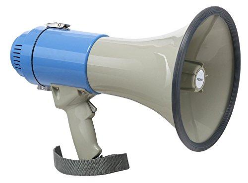 McGrey MP-200S Megaphon (Sprachrohr, 25 Watt RMS/60 Watt MAX, bis zu 1000m Reichweite, Whistle, Sirene, batteriebetrieben) grau/blau