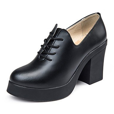 RTRY Donna Comfort Tacchi Autunno Inverno Vero Cuoio Office &Amp; Carriera Lace-Up Chunky Heel Borgogna Marrone Scuro Marrone Nero 1A-1 3/4In US8 / EU39 / UK6 / CN39