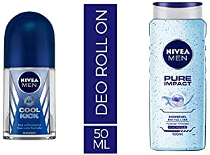Nivea Deodrant Roll On, Cool Kick, 50ml and NIVEA MEN Hair, Face & Body Wash, Pure Impact Shower Gel, 500ml