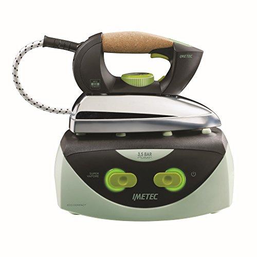 Imetec Eco Compact Ferro da Stiro Compatto, Piastra Scorrevole, 3.5 BAR di Pressione alla Pompa, Ricarica Continua, Tecnologia a Risparmio Energetico, Nero