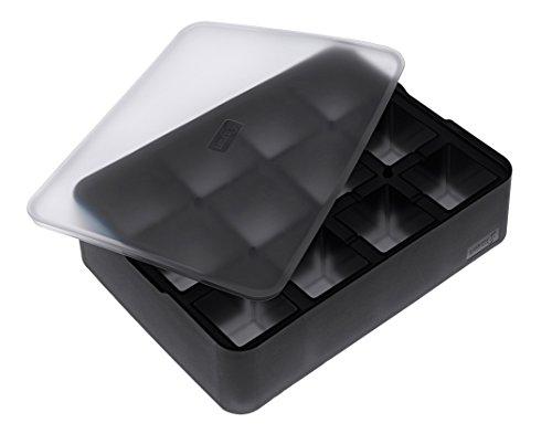 Lurch Ice Former Premium Eisbereiter aus Silikon mit Deckel für 12 Eiswürfel in der Größe 4cm, Schwarz, 6.5 x 15.5 x 20.5 cm