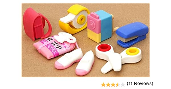 7 gommes Iwako en caoutchouc fournitures scolaires rose