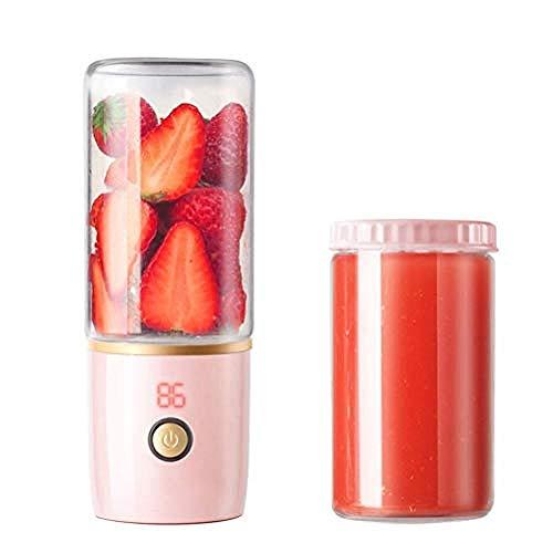 Licuadora portátil Taza pequeña exprimidora Mezclador USB personal Mezclador de frutas recargable Batidora doméstica Mezclador exterior 6 cuchillas 400 ml,azul,rosa,mezclador de jugo recargable USB Ta