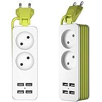 Sulida Regleta Enchufes con 4 Puertos de Carga USB con Tecnología Inteligente IC con Alargadora Cable de 1.5m Carga Múltiples Protección para Móvil u Otros Dispositivos en la Oficina y Casa