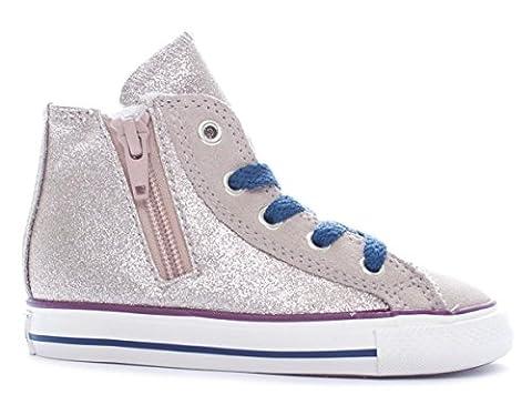 CONVERSE - Goldene Sneakers mit Schnürsenkel, aus Leder, seitlich ein Reißverschluss,Damen, Mädchen,