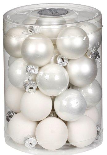 Inge-glas 15112d001 - contenitore con 28 palline di natale da 30 mm, colore: bianco assortito
