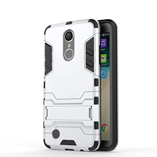YHUISEN LG LV3 Case, 2 In 1 Iron Armour Tough Style Hybrid Dual Layer Armor Defender PC + TPU Schutzhülle mit Stand Shockproof Case für LG LV3 / Aristo / MS210 / K8 2017 ( Color : Gray ) Silver