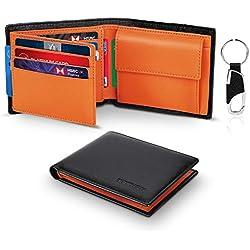 Portefeuille Homme Cuir Véritable RFID Trifold avec Poche à Monnaie,2 Compartiment à Billets,10 Porte-Carte de Crédit (fenêtre ID),Porte-clés. TEEHON Porte Monnaie Homme avec Boîte Cadeau -Noir Orange