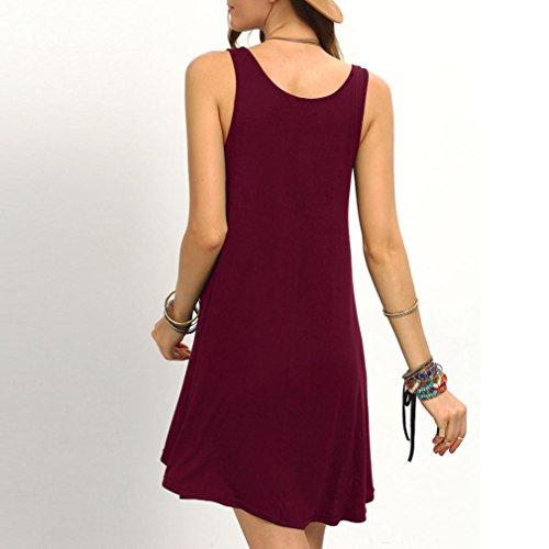 Manadlian-Robes de Plage Femmes sans Manches Courtes Mini Robe Gilet Summer Beach Long Tops T-Shirt vin rouge